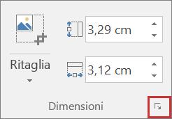 Screenshot del pulsante Dimensioni e posizione nella scheda Formato.