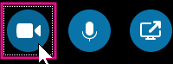 Fare clic qui per attivare la fotocamera in modo da essere ripresi durante la riunione di Skype for Business o la video chat. Il blu più chiaro indica che la fotocamera non è attivata.