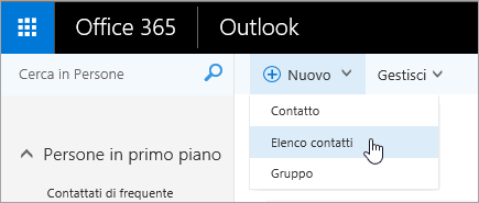 """Screenshot del menu contestuale per il pulsante """"Nuovo"""", con l'opzione """"Elenco contatti"""" selezionata."""