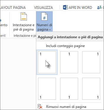 immagine della raccolta di numeri pagina visualizzata quando si fa clic su numeri di pagina nella scheda inserisci.