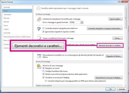 Comandi Elementi decorativi e Tipi di caratteri nella finestra di dialogo Opzioni Outlook