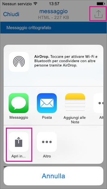 Visualizzatore Crittografia messaggi di Office 365 per Outlook per iOS 2
