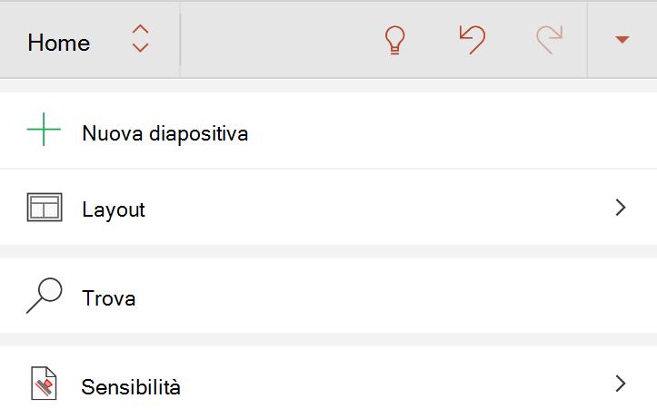 Menu Sensitivity nella scheda Home della barra multifunzione di Android