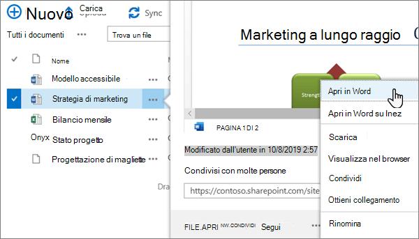 Opzione di menu Apri > Apri nell'app selezionata per un file di Word nella visualizzazione classica del portale di OneDrive online