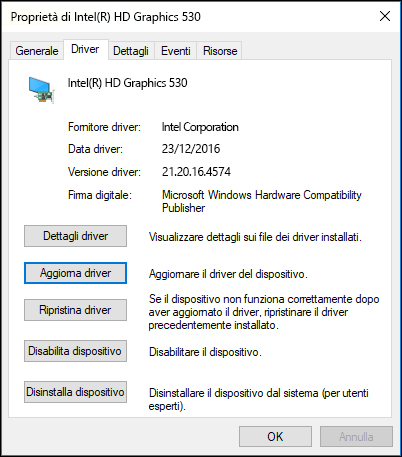 Passare alla scheda Driver per aggiornare o ripristinare una versione precedente di un driver di dispositivo