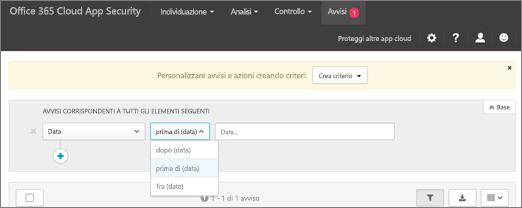 Usare il filtro data per visualizzare le informazioni prima, dopo o tra le date.