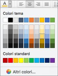 Scelta del colore del carattere