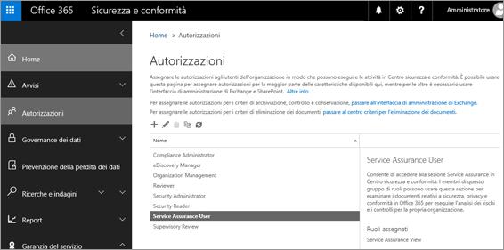Screenshot della pagina Autorizzazioni del Centro sicurezza e conformità con il ruolo Utente Garanzia del servizio selezionato.