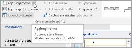 Aggiunta di una forma all'elemento grafico SmartArt