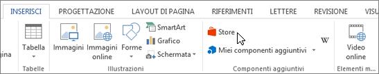 Schermata della sezione della scheda Inserisci sulla barra multifunzione di Word con un cursore posizionato all'archivio. Selezionare l'archivio per passare a Office Store e cercare componenti aggiuntivi per Word.