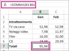 Esempio di Somma automatica con il risultato visualizzato