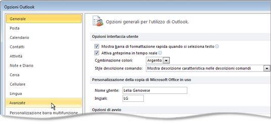 Comando Avanzate nella finestra di dialogo Opzioni di Outlook