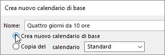 Creare un nuovo calendario di base