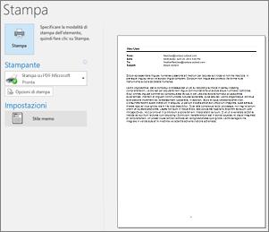 Anteprima di stampa di un messaggio di posta elettronica di Outlook