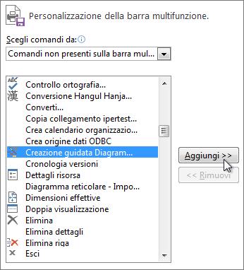 Aggiungere il comando Creazione guidata Diagramma di Gantt al nuovo gruppo della barra multifunzione di Project.