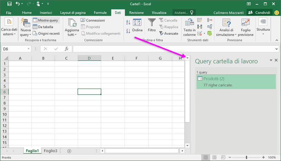 Query della cartella di lavoro in Excel 2016