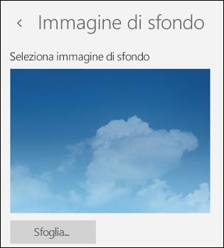Immagine di sfondo nell'app Posta