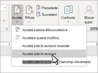 Opzione accetta tutte le revisioni