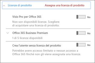 Sezione Licenze di prodotto con solo Office 365 Business Premium