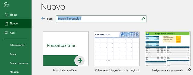 Nuova scheda del menu File, con il campo di ricerca Cerca modelli online in uso