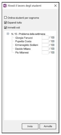 Riquadro Rivedi il lavoro degli studenti con un elenco di nomi di studenti e gli spazi per i voti su 100 lasciati vuoti.