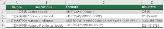 Formati speciali per la funzione TESTO
