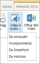Inserire Video o audio pulsante sulla barra multifunzione Modifica