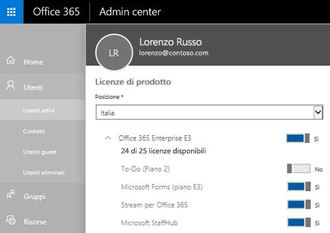 Screenshot che mostra la pagina Licenze di prodotto dell'interfaccia di amministrazione di Office 365 con l'interruttore impostato su Disattivato per Attività (piano 2).