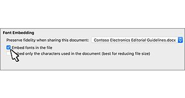 Finestra di dialogo Incorporamento tipi di carattere con la casella di controllo Incorpora tipo di carattere nel file selezionata