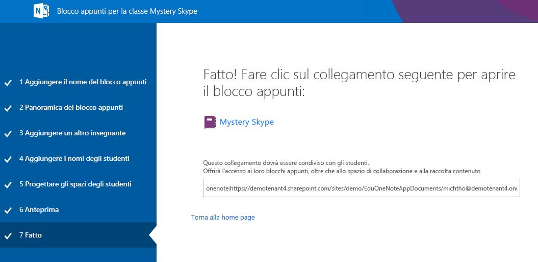 La configurazione di Mystery Skype è completata