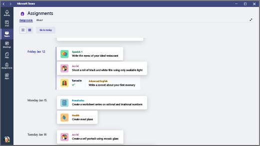Visualizza le attività in tutte le classi come elenco ordinato per scadenza.