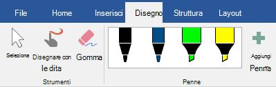 Penne ed evidenziatori nella scheda disegno in Office 2019