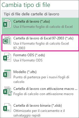 Formato Cartella di lavoro di Excel 97-2003