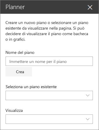 Casella degli strumenti di pianificazione web part
