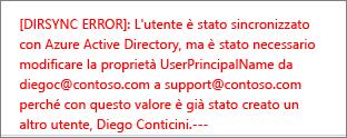 Dettagli dell'errore di sincronizzazione della directory di un utente
