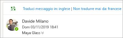 Schermata della richiesta di traduzione di un messaggio