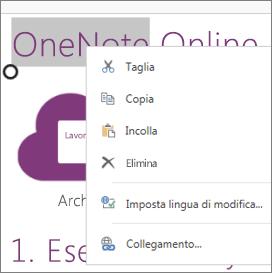 Menu di scelta rapida in OneNote Online su un dispositivo in modalità tocco