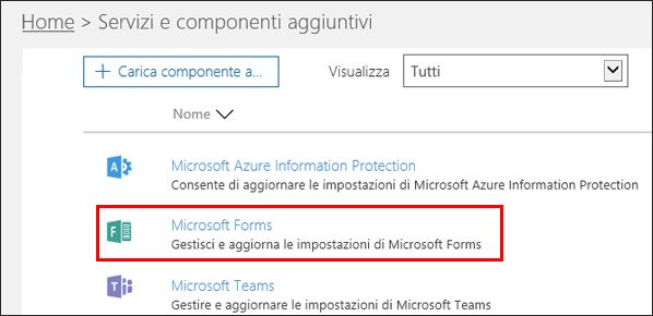 Impostazioni di amministrazione di Microsoft Forms