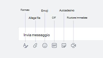 Emoji, GIF, sticker e altre opzioni