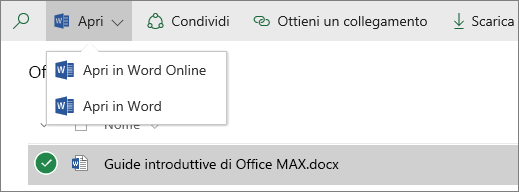Screenshot del menu Apri in una raccolta documenti.