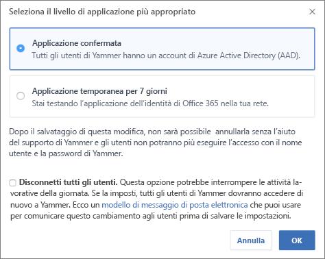 Screenshot della finestra di conferma che mostra il livello di applicazione per l'accesso a Office 365.
