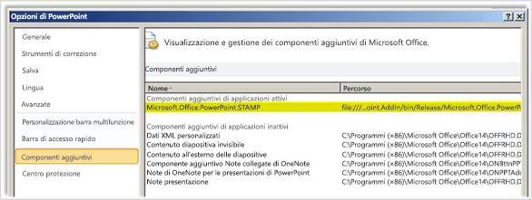 Opzioni di PowerPoint, schermata Componenti aggiuntivi con STAMP evidenziato