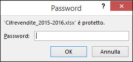 Immettere una password per aprire un file protetto
