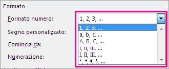 Scegliere il formato di numerazione per le note di chiusura e le note a piè di pagina