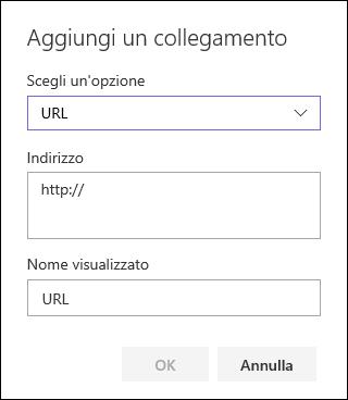 Aggiungere un collegamento URL per la struttura di spostamento a sinistra di un sito del team di SharePoint