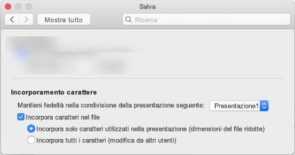 Utilizzare PowerPoint > Preferenze in modo da attivare incorporamento per il file di tipi di carattere