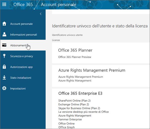 Pagina Abbonamenti a Office 365