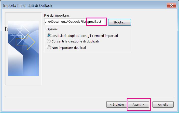Selezionare il file PST creato in modo da poterlo importare.