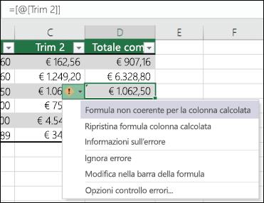 Notifica di un errore nella formula non coerente in una tabella di Excel