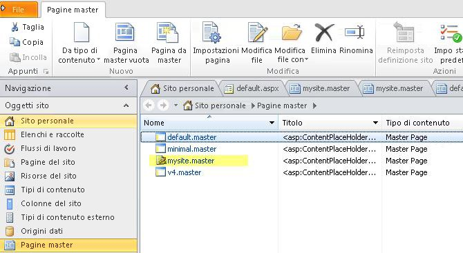 Elenco di pagine master di SharePoint 2010.